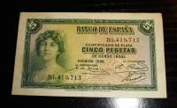 Billete de Cinco Pesetas año 1935