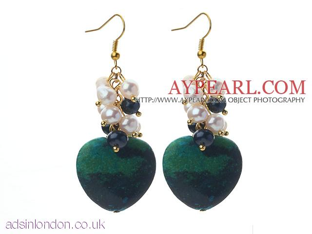White and Black Freshwater Pearl and Heart Shape Phoenix Stone Earring