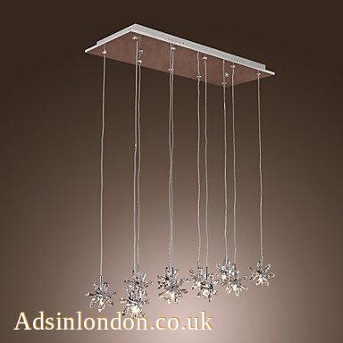 Egypt Imported Crystal 10-Light Bar Pendant Light in Floral Shape #1