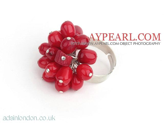 Fashion 7-8Mm Cluster Style Red Coral Loop Charm Flower Ring