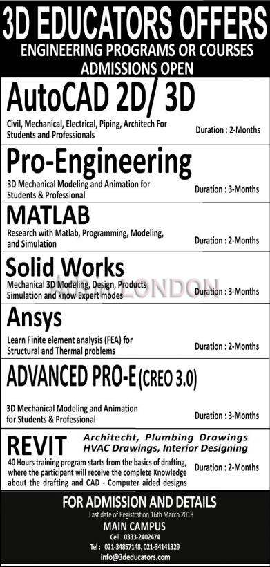 Engineering programs or courses offerd by 3D Educators Admissions open #1