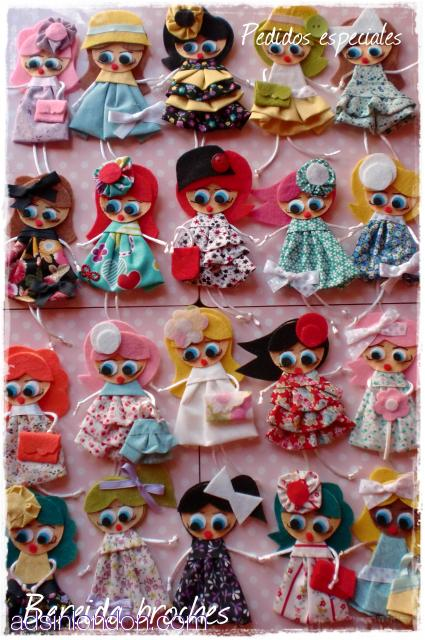 Felt Brooches dolls #1