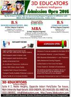 BS(CS), BBA & MBA Programs Offers By 3D Educators
