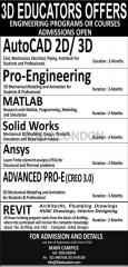 Engineering programs or courses offerd by 3D Educators Admissions open